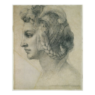 ミケランジェロ著女性の理想的な頭部 ポスター