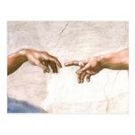 ミケランジェロ著神の手 はがき