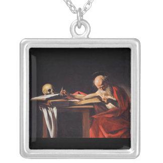 ミケランジェロCaravaggio著聖者のジェロームの執筆 シルバープレートネックレス
