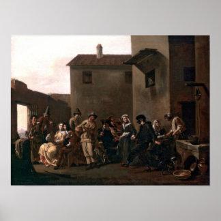ミケランジェロCerquozzi著トラットリアのダンス ポスター