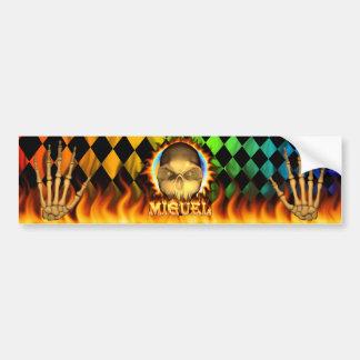 ミゲルのスカルの実質火および炎のバンパーステッカーd バンパーステッカー