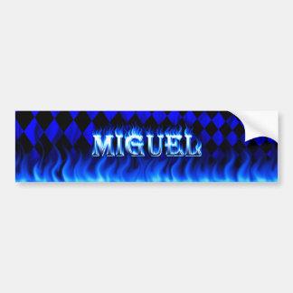 ミゲルの青い火および炎のバンパーステッカーは設計します バンパーステッカー