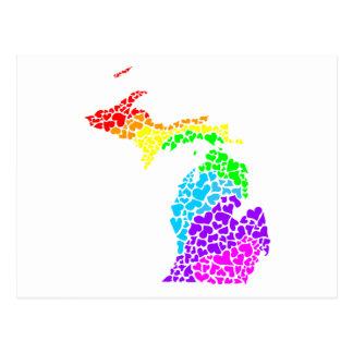ミシガン州のプライドの虹のハート ポストカード