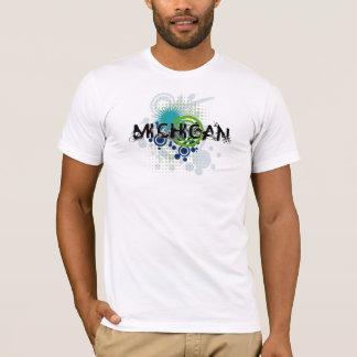 ミシガン州のモダンでグランジなハーフトーンのTシャツ Tシャツ