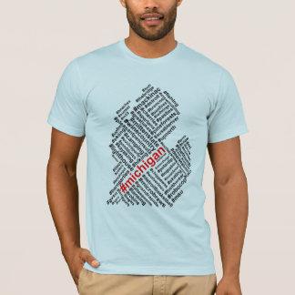 ミシガン州のラベルの雲-黒い文字 Tシャツ