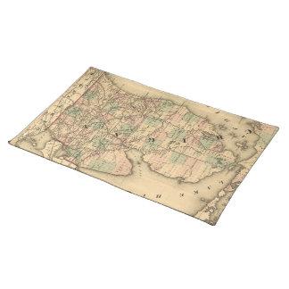 ミシガン州のヴィンテージの地図は強行採決します(1876年) ランチョンマット