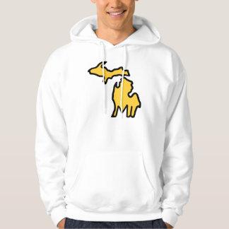 ミシガン州の原稿のフード付きスウェットシャツ-白か黄色 パーカ