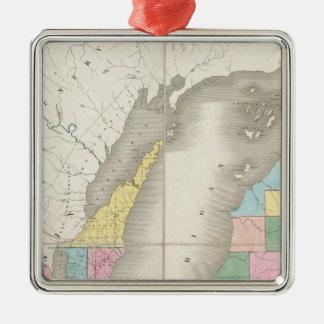 ミシガン州の地図及びウィスコンシンの領域の部分 メタルオーナメント