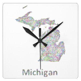 ミシガン州の地図 スクエア壁時計