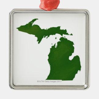 ミシガン州の地図 メタルオーナメント