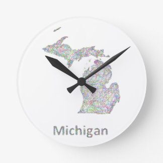 ミシガン州の地図 ラウンド壁時計