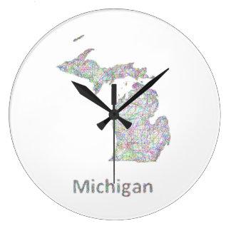 ミシガン州の地図 ラージ壁時計