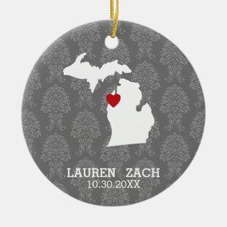 ミシガン州の故郷の州都市地図-カスタムな結婚式 セラミックオーナメント