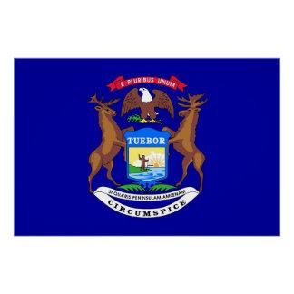 ミシガン州の旗が付いている愛国心が強い壁ポスター ポスター