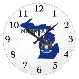 ミシガン州の旗の地図 壁時計