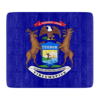 ミシガン州の旗を持つ小さいガラスまな板 カッティングボード