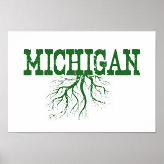 ミシガン州は緑の単語の芸術を定着させます ポスター