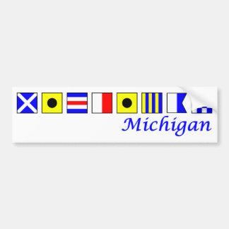 ミシガン州は航海のな旗のアルファベットで綴りました バンパーステッカー