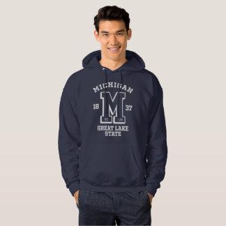ミシガン州は青く大学人のフード付きのスエットシャツ行きます パーカ