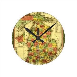 ミシガン州ショーの本当の忠誠MIの1853鮮やかな地図 ラウンド壁時計