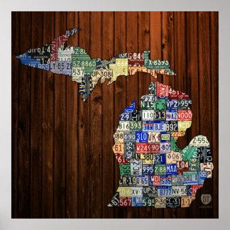ミシガン州郡ナンバープレートの地図のキャンバスのプリント ポスター