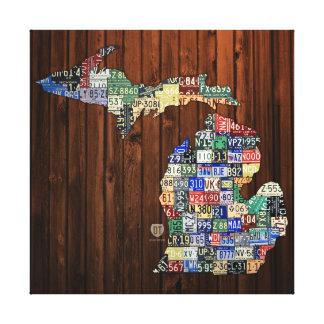 ミシガン州郡ナンバープレートの地図のキャンバスプリント キャンバスプリント