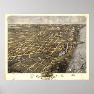 ミシガン州都市インディアナ1869の旧式なパノラマ式の地図 ポスター