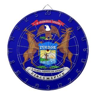 ミシガン州、米国の旗が付いているダート盤 ダーツボード