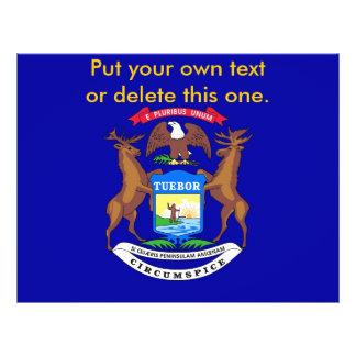 ミシガン州、米国の旗が付いているフライヤ チラシ
