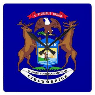ミシガン州、米国の旗が付いている柱時計 スクエア壁時計