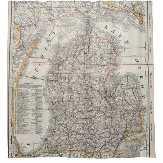 ミシガン州(1901年) 3のヴィンテージの地図 シャワーカーテン