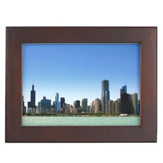 ミシガン湖著シカゴのスカイラインの眺め ジュエリーボックス