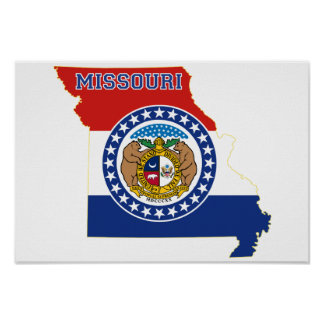 ミズーリの州の旗および地図 ポスター