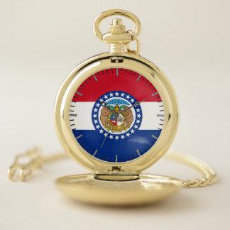 ミズーリの旗が付いている愛国心が強い壊中時計 ポケットウォッチ