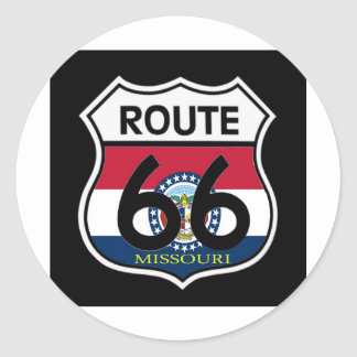 ミズーリの旗のルート66の盾 ラウンドシール