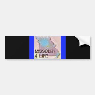 """""""ミズーリ4生命""""の州の地図のプライドのデザイン バンパーステッカー"""