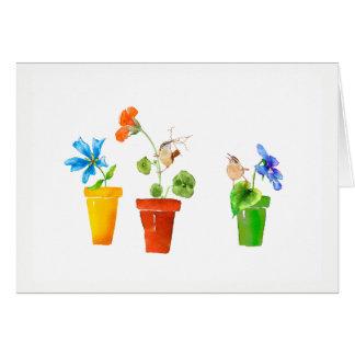 ミソサザイおよび植木鉢 カード