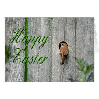 ミソサザイの庭の巣箱の春のハッピーイースター カード