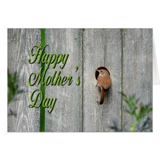 ミソサザイの庭の巣箱の春の幸せな母の日 カード