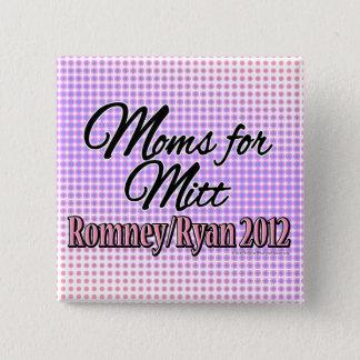 ミット、Romneyまたはライアンのためのお母さん 5.1cm 正方形バッジ