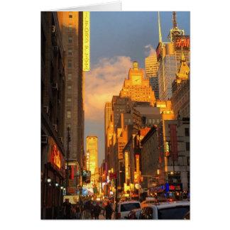 ミッドタウンの日没NYCニューヨークの劇場地区の写真 カード