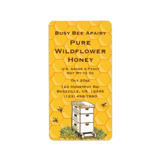 ミツバチの巣および蜜蜂の巣の名前入りなApiaryのスタイル2 ラベル