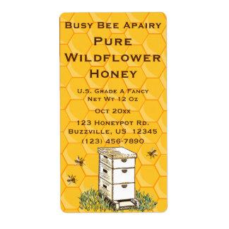 ミツバチの巣および蜜蜂の巣の名前入りなApiary ラベル