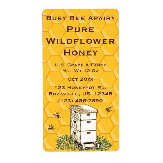 ミツバチの巣および蜜蜂の巣の名前入りなApiary 発送ラベル