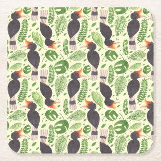 ミナミジサイチョウ熱帯鳥 スクエアペーパーコースター