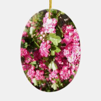 ミニチュアピンクのバラ セラミックオーナメント