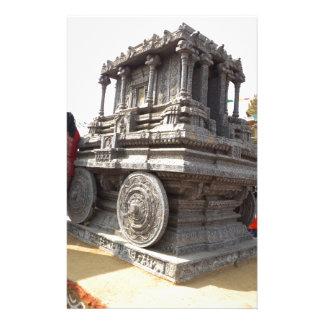ミニチュア彫像のインドの石造りの技術の寺院 便箋
