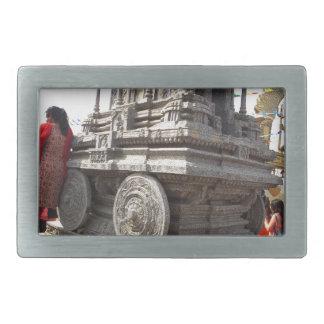 ミニチュア彫像のインドの石造りの技術の寺院 長方形ベルトバックル