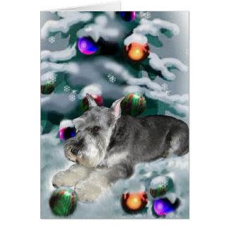 ミニチュア・シュナウツァーのクリスマスのギフト カード