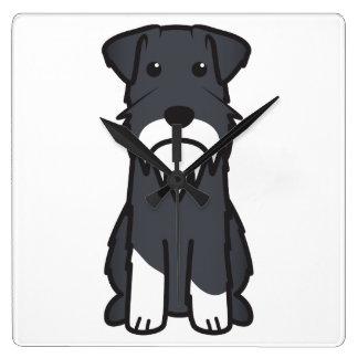 ミニチュア・シュナウツァー犬の漫画 スクエア壁時計